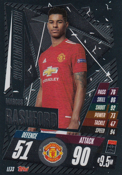 #LE3S Marcus Rashford (Manchester United) Match Attax Champions League 2020/21 SILVER LIMITED EDITION