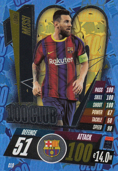 #CL9 Lionel Messi (FC Barcelona) Match Attax Champions League 2020/21 100 CLUB