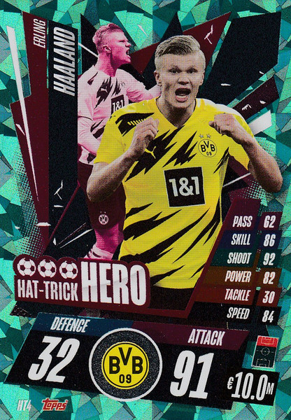 #HT4 Erling Haaland (Borussia Dortmund) Match Attax Champions League 2020/21 HAT-TRICK HERO