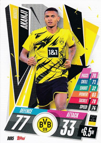 #DOR5 Manuel Akanji (Borussia Dortmund) Match Attax Champions League 2020/21