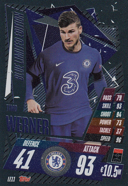 #LE11 Timo Werner (Chelsea) Match Attax Champions League 2020/21 BLUE LIMITED EDITION