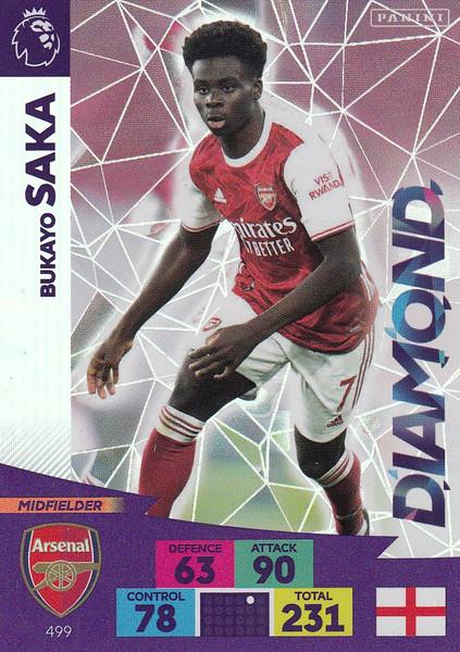 #499 Bukayo Saka (Arsenal) Adrenalyn XL Premier League PLUS 2020/21 DIAMONDS