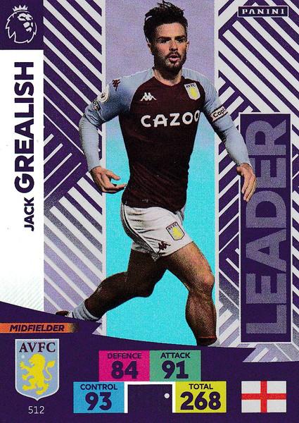 #512 Jack Grealish (Aston Villa) Adrenalyn XL Premier League PLUS 2020/21 LEADERS