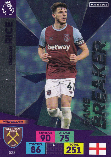 #528 Declan Rice (West Ham United) Adrenalyn XL Premier League PLUS 2020/21 GAME BREAKERS
