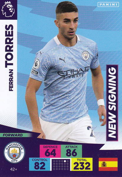 #42+ Ferran Torres (Manchester City) Adrenalyn XL Premier League PLUS 2020/21 NEW SIGNINGS