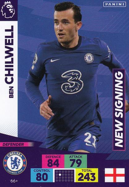 #66+ Ben Chilwell (Chelsea) Adrenalyn XL Premier League PLUS 2020/21 NEW SIGNINGS
