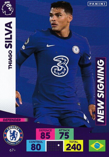 #67+ Thiago Silva (Chelsea) Adrenalyn XL Premier League PLUS 2020/21 NEW SIGNINGS