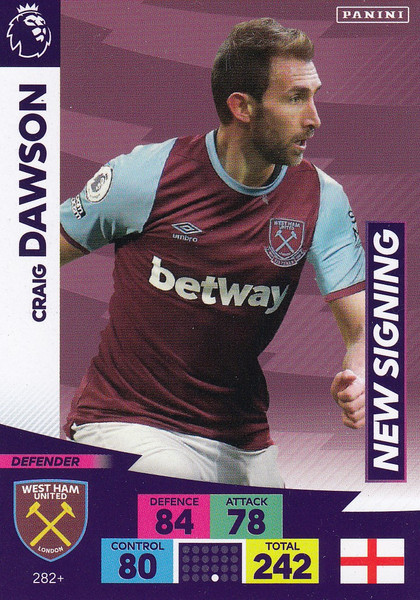 #282+ Craig Dawson (West Ham United) Adrenalyn XL Premier League PLUS 2020/21 NEW SIGNINGS