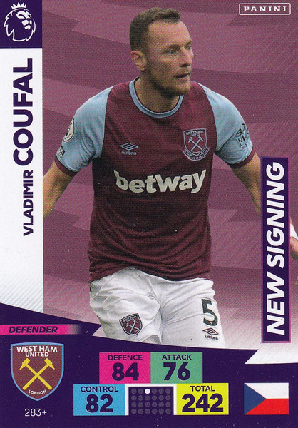 #283+ Vladimir Coufal (West Ham United) Adrenalyn XL Premier League PLUS 2020/21 NEW SIGNINGS