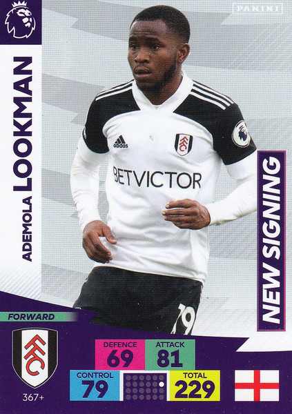 #367+ Ademola Lookman (Fulham) Adrenalyn XL Premier League PLUS 2020/21 NEW SIGNINGS