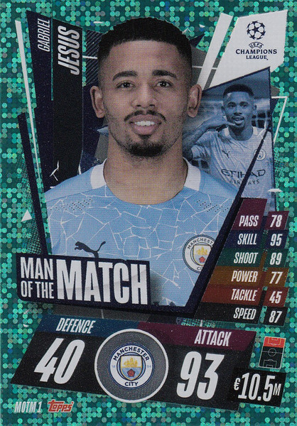 #MOTM1 Gabriel Jesús (Manchester City) Match Attax EXTRA 2020/21 MAN OF THE MATCH