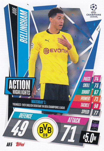 #AH5 Jude Bellingham (Borussia Dortmund) Match Attax EXTRA 2020/21 ACTION HIGHLIGHTS