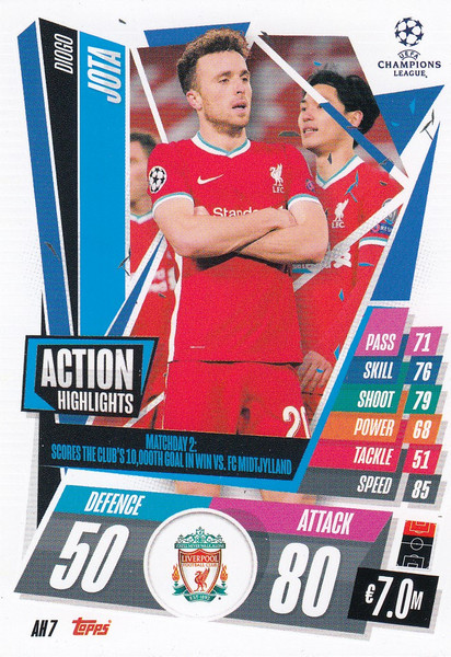 #AH7 Diogo Jota (Liverpool) Match Attax EXTRA 2020/21 ACTION HIGHLIGHTS