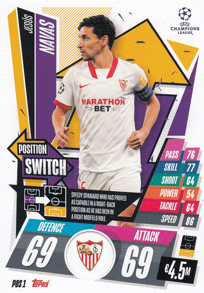 #POS1 Jesús Navas (Sevilla FC) Topps Match Attax EXTRA 2020/21 collection - POSITION SWITCH
