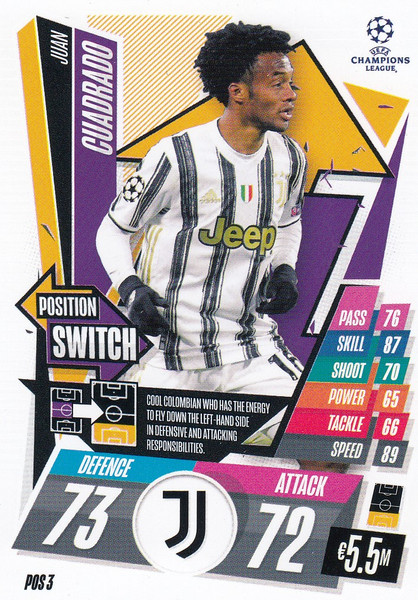 #POS3 Juan Cuadrado (Juventus) Topps Match Attax EXTRA 2020/21 collection - POSITION SWITCH
