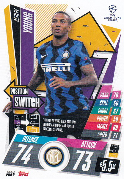 #POS4 Ashley Young (FC Internazionale Milano) Topps Match Attax EXTRA 2020/21 collection - POSITION SWITCH