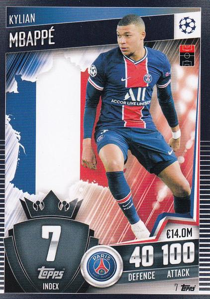 #7 Kylian Mbappé (Paris Saint-Germain) Match Attax 101 2020/21