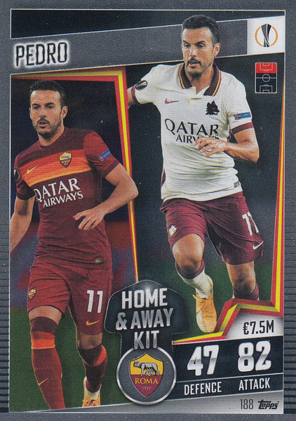 #188 Pedro (AS Roma) Match Attax 101 2020/21 HOME & AWAY KIT