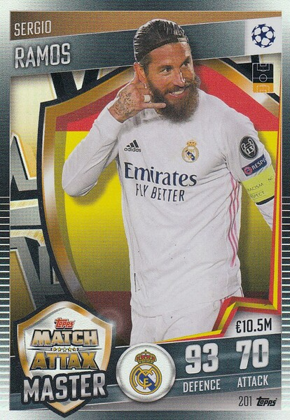 #201 Sergio Ramos (Real Madrid CF) Match Attax 101 2020/21 MATCH ATTAX MASTER