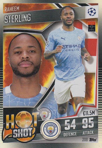 #208 Raheem Sterling (Manchester City) Match Attax 101 2020/21 HOT SHOT