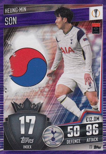 #17 Heung-Min Son (Tottenham Hotspur) Match Attax 101 2020/21 PURPLE PARALLEL