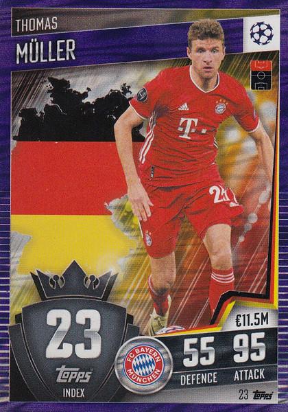 #23 Thomas Müller (FC Bayern München) Match Attax 101 2020/21 PURPLE PARALLEL
