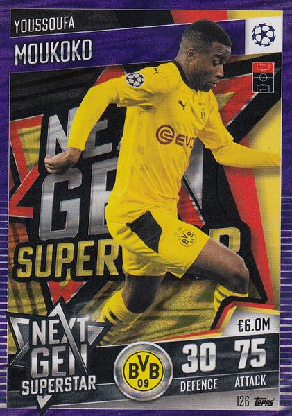 #126 Youssoufa Moukoko (Borussia Dortmund) Match Attax 101 2020/21 PURPLE PARALLEL