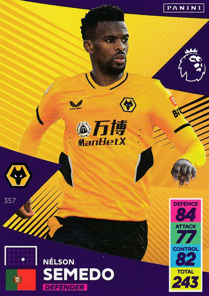 #357 Nélson Semedo (Wolverhampton Wanderers) Adrenalyn XL Premier League 2021/22