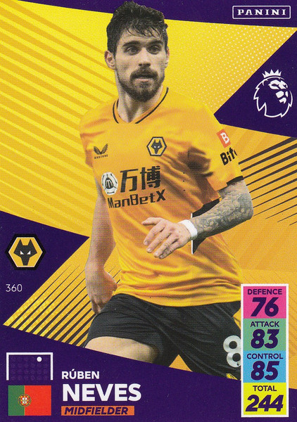 #360 Rúben Neves (Wolverhampton Wanderers) Adrenalyn XL Premier League 2021/22