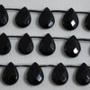 10 High Quality Black Onyx Agate Semi-precious Gemstone Faceted Teardrop Beads / Pendant 12mm 14mm 18mm