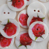 100 Natural Shell Buttons - Rose Flower - 2.5cm