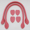 Sew In Bag Handles - Spotty Polka Dots - Black Green Pink - 40cm