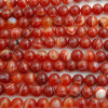 High Quality Grade A Red Banded Agate / Carnelian Striped Semi-precious Gemstone Round Beads 4mm, 6mm, 8mm, 10mm