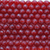 "High Quality Grade A Natural Carnelian Dark Red Agate Faceted Semi-Precious Gemstone Round Beads - 10mm - 15"" long"