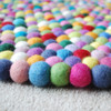 100% Wool Felt Ball Rug - Round - Handmade - 100cm in Diametre - Multi-Coloured 03