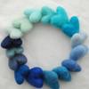 100% Wool Felt Hearts - 16 Count - approx 3cm - Blue Colours