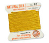 GRIFFIN 100% Natural Silk Bead Cord / String / Thread for stringing Pearls or Beads - Yellow - choose from 13 Sizes