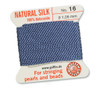 GRIFFIN 100% Natural Silk Bead Cord / String / Thread for stringing Pearls or Beads - Blue - choose from 13 Sizes - 1 Pack