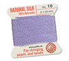 GRIFFIN 100% Natural Silk Bead Cord / String / Thread for stringing Pearls or Beads - Lilac - choose from 13 Sizes - 1 Pack