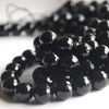 "High Quality Grade A Black Agate Onyx Faceted Semi-Precious Gemstone Round Beads - 4mm, 6mm, 8mm, 10mm sizes - 15"" long"