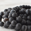 Semi-Precious Gemstone Frosted Matte Black Banded Agate Onyx Round Beads 4mm, 6mm, 8mm, 10mm