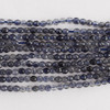 "High Quality Grade A Natural Iolite Faceted Semi-Precious Gemstone Round Beads - 2mm - 15.5"" long"