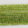 High Quality Grade A Natural Peridot Semi-Precious Gemstone Faceted Rondelle / Spacer Beads - 3mm, 4mm sizes