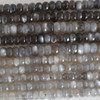 High Quality Grade A Natural Grey Moonstone Semi-Precious Gemstone Faceted Rondelle / Spacer Beads - 6mm, 8mm sizes