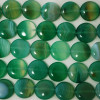 4 x High Quality Grade A Green Banded Agate Beads Disc Coin 16mm