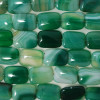4 x High Quality Grade A Green Banded Agate Beads Rectangle 18 x 25mm