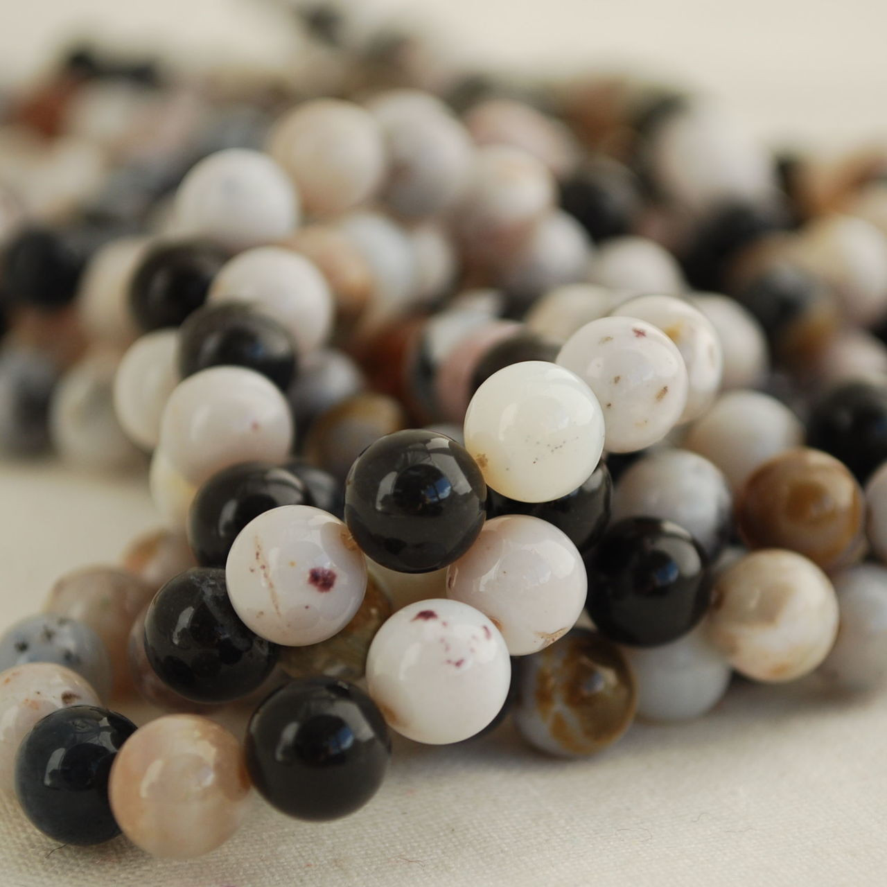 8 inch strand Black Moss Opal 8mm Round Beads
