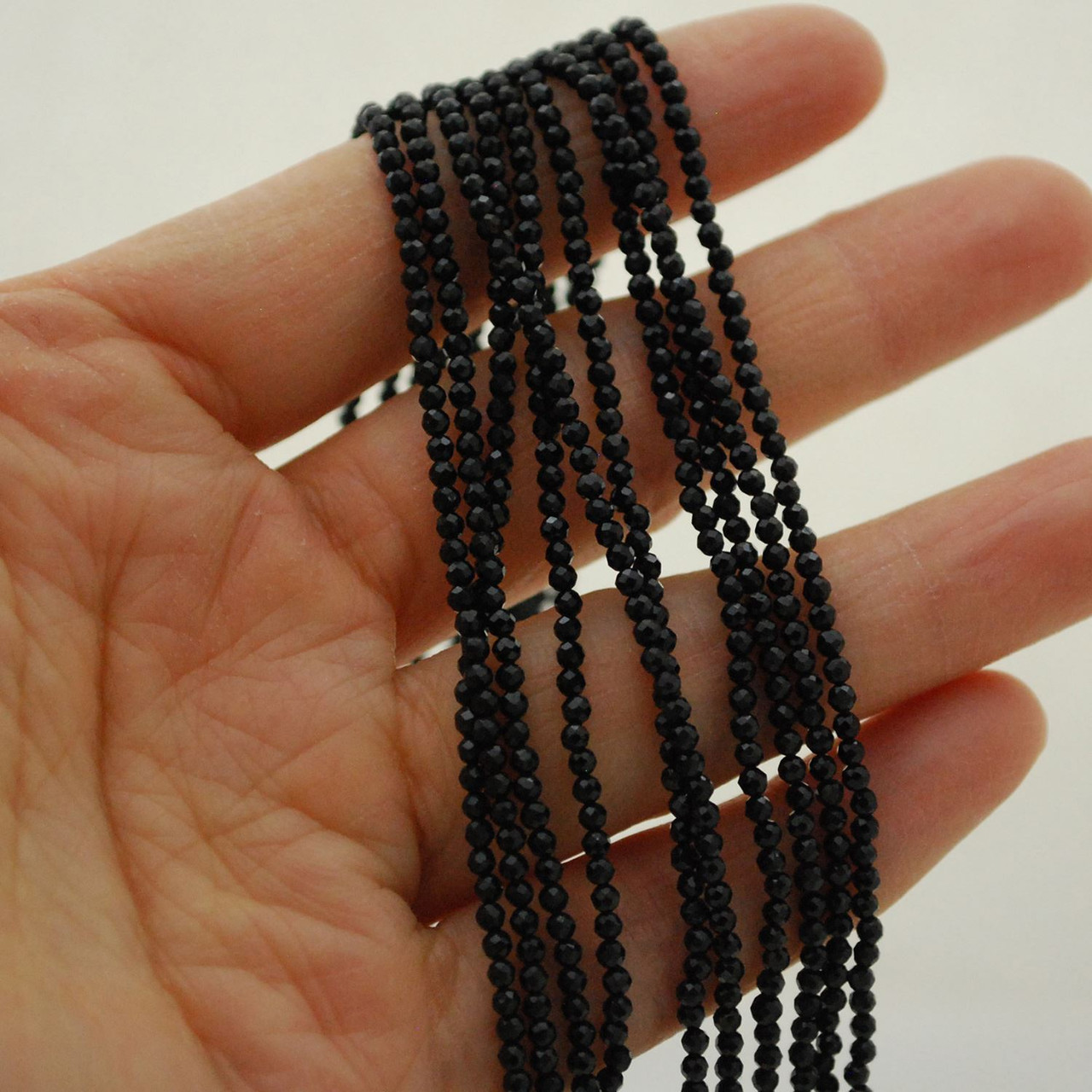 15.5 strand High Quality Grade A Natural Black Spinel Semi-Precious Gemstone FACETED Round Beads approx 2mm