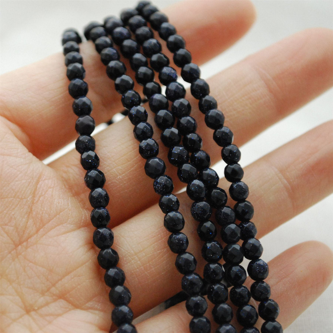 Blue Goldstone Semi-Precious Gemstone Round Beads 2mm 15.5