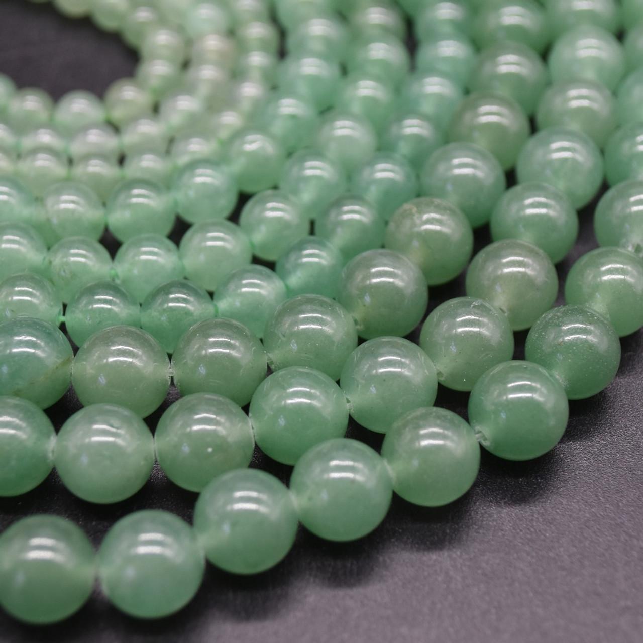 8mm Natural Green Aventurine 46 Round Beads 1mm Hole